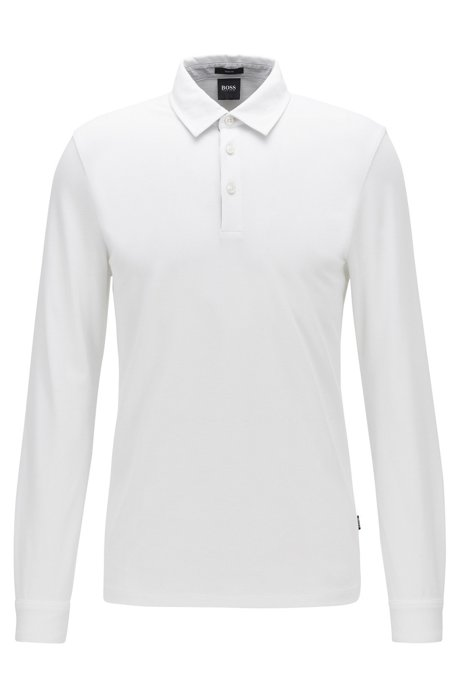 Long-sleeved slim-fit polo shirt in structured cotton, White