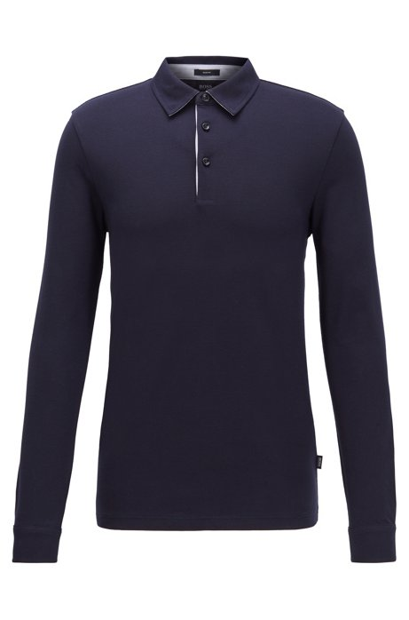 Long-sleeved slim-fit polo shirt in structured cotton, Dark Blue
