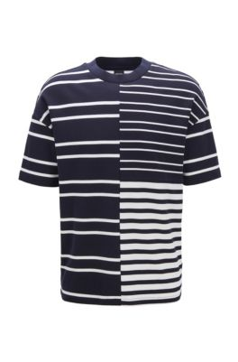 Relaxed-fit T-shirt in stretch cotton with mixed stripes, Dark Blue