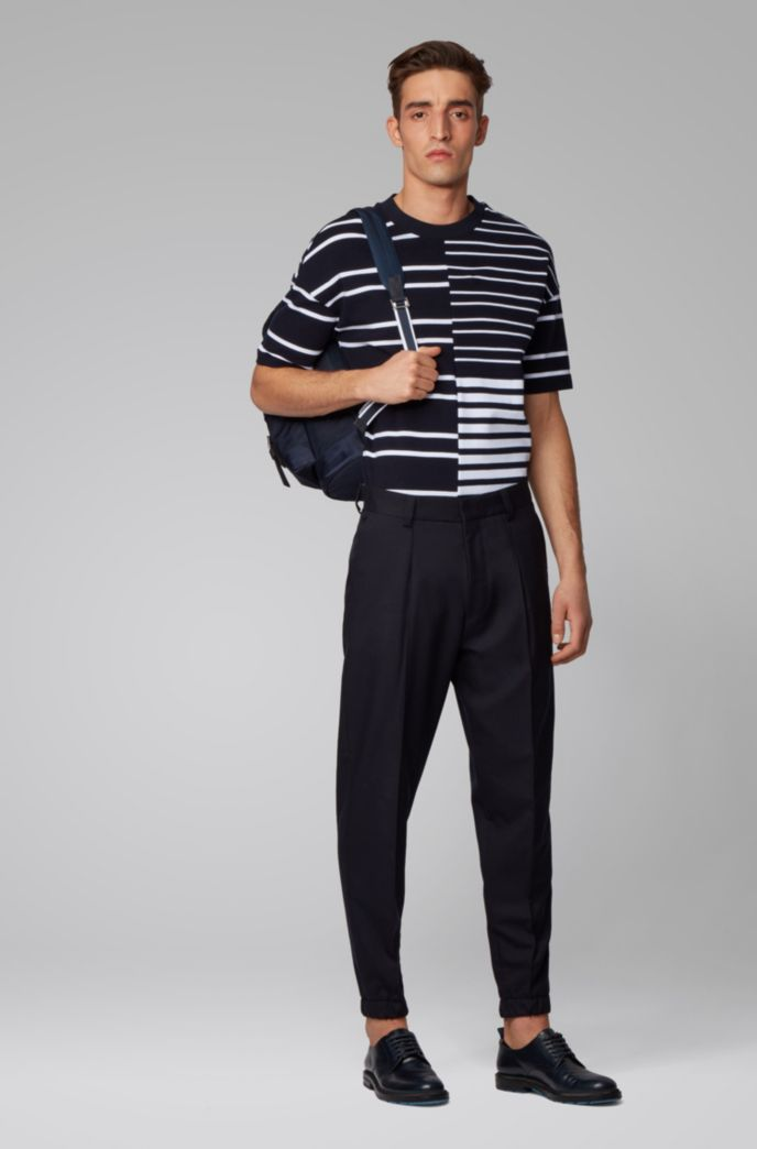 Relaxed-fit T-shirt in stretch cotton with mixed stripes