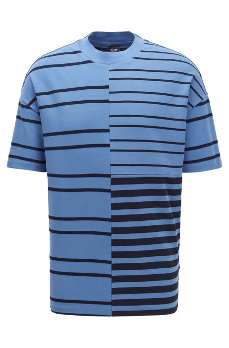 Relaxed-fit T-shirt in stretch cotton with mixed stripes, Open Blue