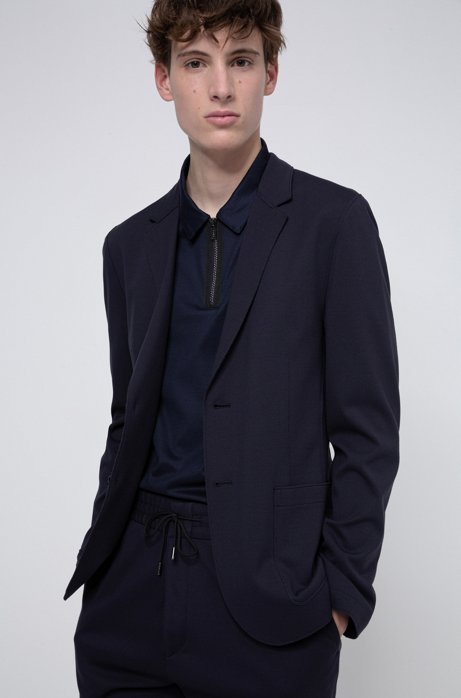 Extra-slim-fit jacket in stretch fabric, Dark Blue