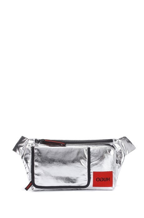 Reverse-logo belt bag in laminated-effect silver fabric, Silver