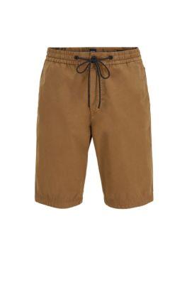 Regular-fit shorts in cotton poplin with drawstring waist, Open Beige