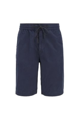 Regular-fit shorts in cotton poplin with drawstring waist, Dark Blue