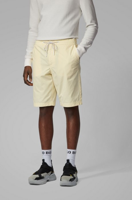 Regular-fit shorts in cotton poplin with drawstring waist, Light Yellow
