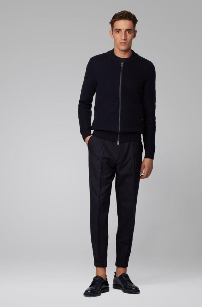 Baseball-style jacket in ribbed cotton and virgin wool