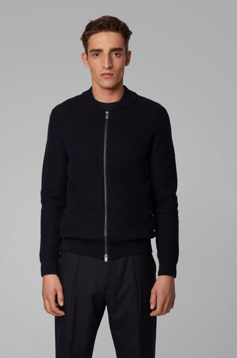 Baseball-style jacket in ribbed cotton and virgin wool, Dark Blue