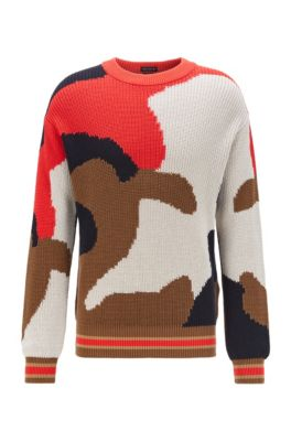 Crew-neck sweater in Italian cotton with camouflage intarsia, Dark Brown