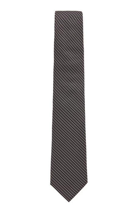 Italian-silk tie with micro-jacquard motif, Black