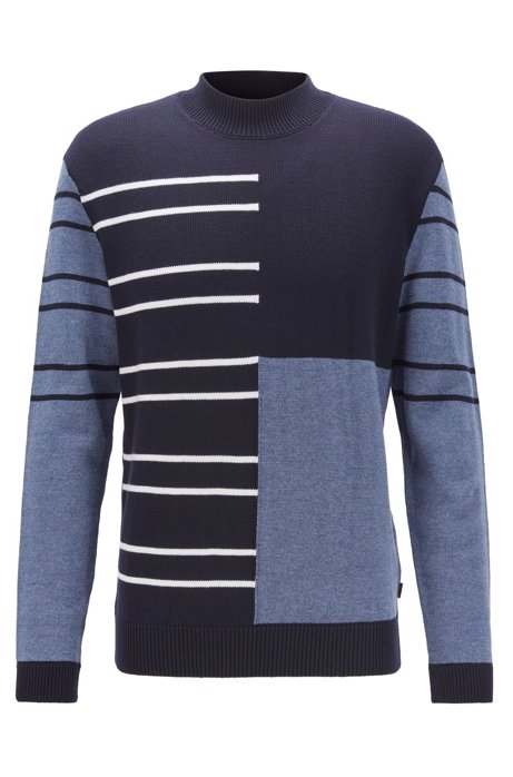 Virgin-wool sweater with stripes and color-blocking, Dark Blue
