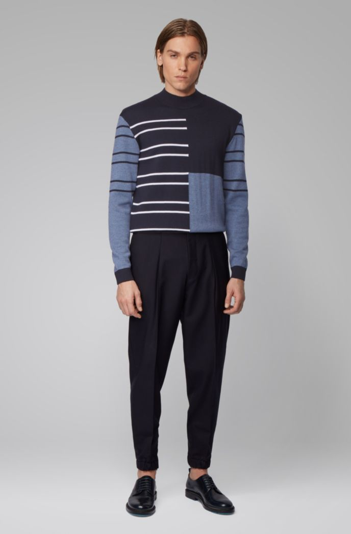 Virgin-wool sweater with stripes and color-blocking