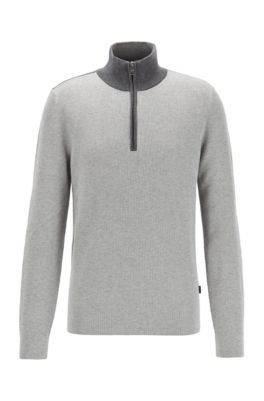 Quarter-zip sweater in cotton and virgin wool, Light Grey
