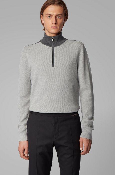 Quarter-zip sweater in cotton and virgin wool, Open Grey