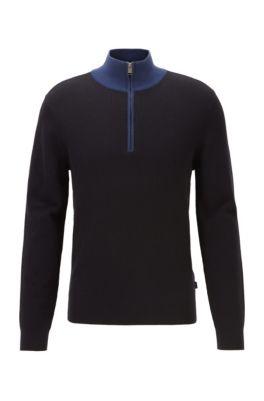 Quarter-zip sweater in cotton and virgin wool, Dark Blue
