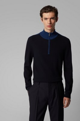 Quarter-zip sweater in cotton and virgin wool, Dark Blue