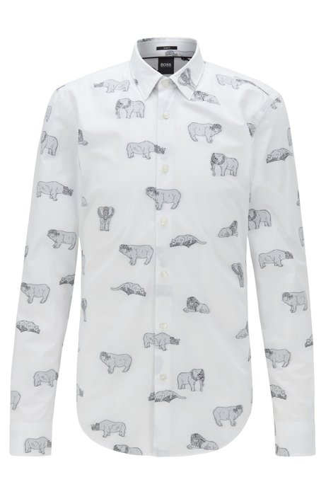 Slim-fit shirt in Italian cotton with collection motifs, White
