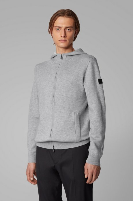 Zip-through sweater in a cotton blend with cashmere, Open Grey