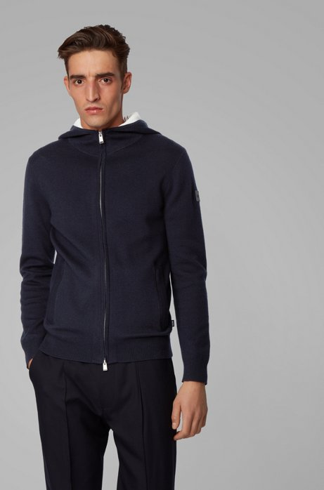 Zip-through sweater in a cotton blend with cashmere, Dark Blue
