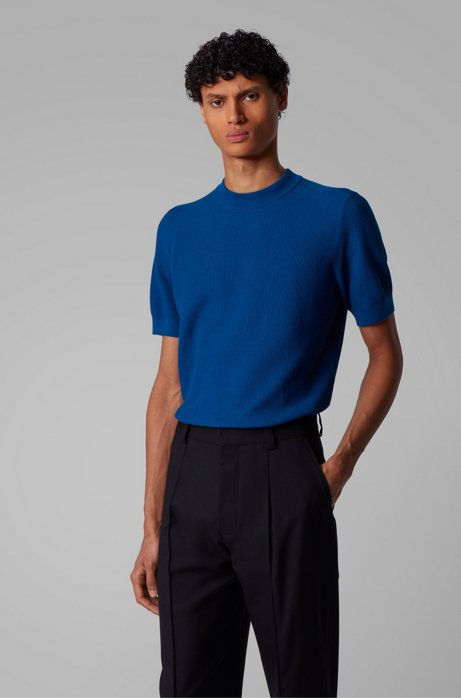 Short-sleeved knitted sweater in structured cotton, Blue