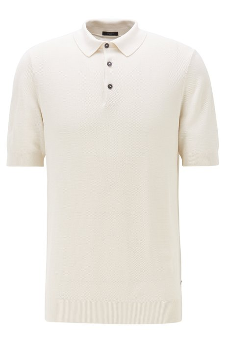 Short-sleeved sweater in silk with polo collar, Natural