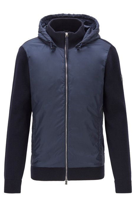 Knitted jacket with tonal body panel and hood, Dark Blue
