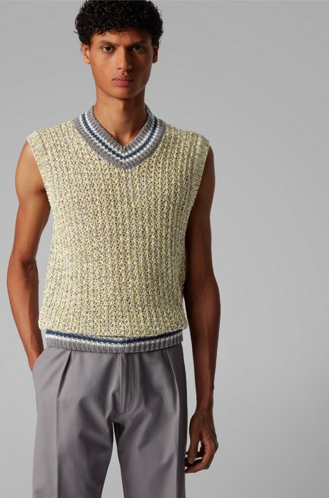 Sleeveless sweater in mercerized cotton with striped trims, Silver