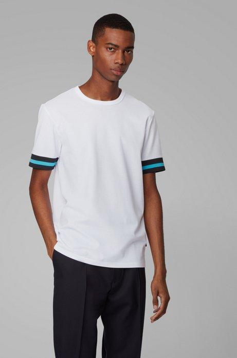 Cotton piqué T-shirt with sleeve stripes, White