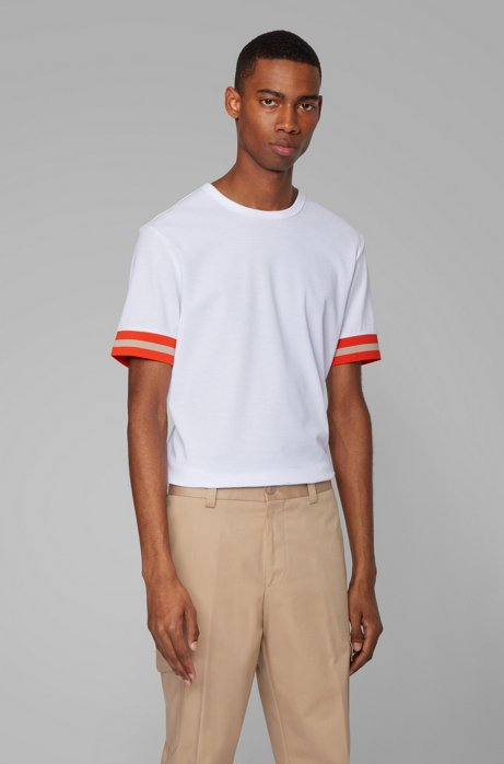 Cotton piqué T-shirt with sleeve stripes, Natural