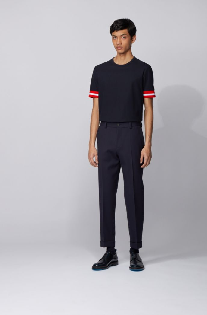 Cotton piqué T-shirt with sleeve stripes