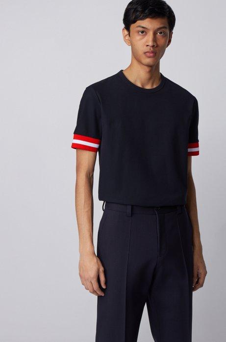 Cotton piqué T-shirt with sleeve stripes, Dark Blue
