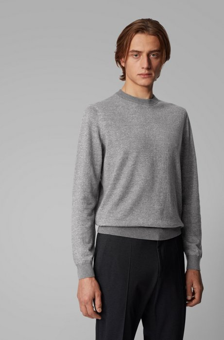 Knitted sweater in mouliné cotton and linen, Grey