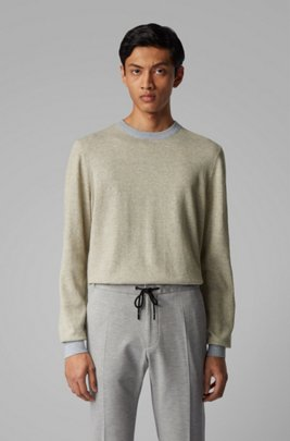 Knitted sweater in mouliné cotton and linen, Light Grey
