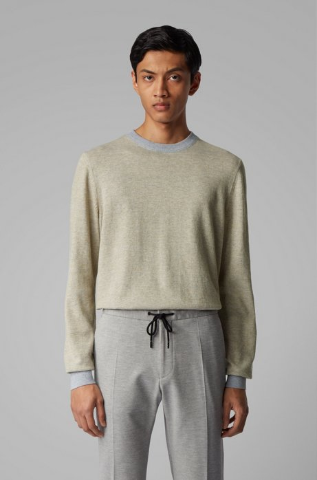 Knitted sweater in mouliné cotton and linen, Open Grey