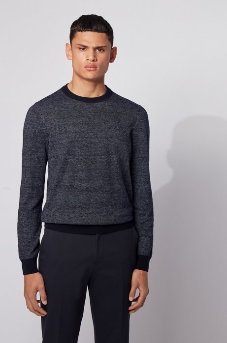 Knitted sweater in mouliné cotton and linen, Dark Blue