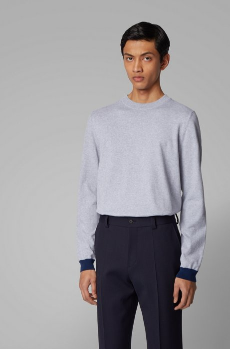 Crew-neck sweater in cotton with pop-color details, Light Grey