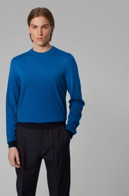 Crew-neck sweater in cotton with pop-color details, Blue