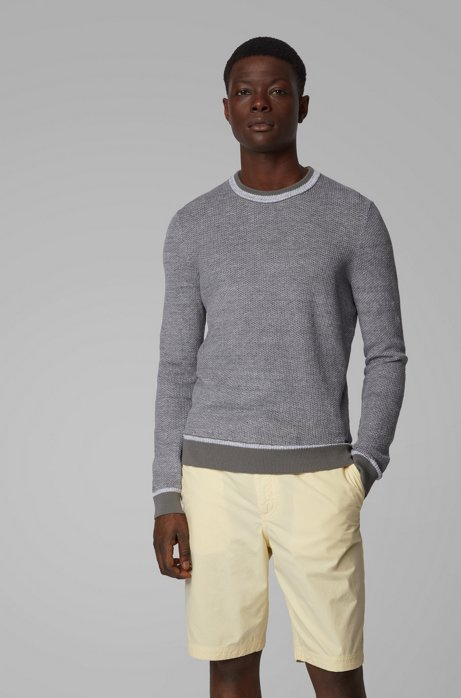 Regular-fit sweater with two-tone structure, Grey