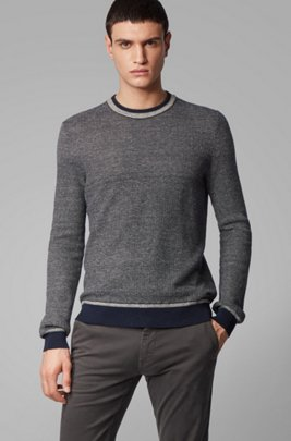 Regular-fit sweater with two-tone structure, Dark Blue