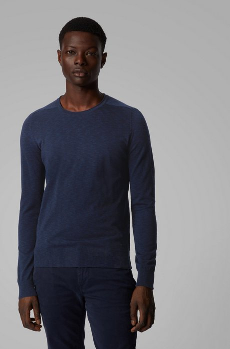 Slim-fit sweater in lightweight mouliné cotton, Dark Blue