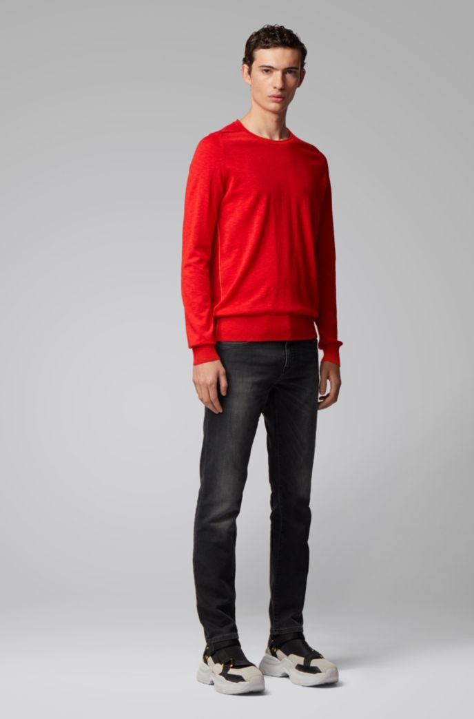 Slim-fit sweater in lightweight mouliné cotton