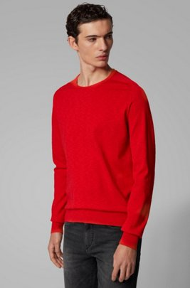 Slim-fit sweater in lightweight mouliné cotton, Dark Orange