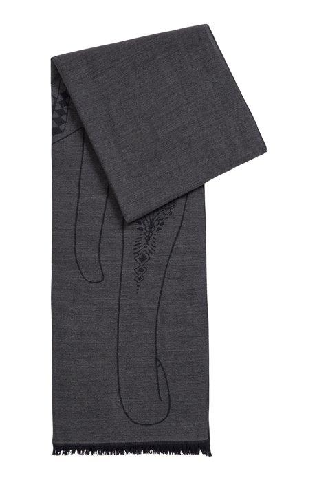 Italian-made scarf in wool and silk, Black