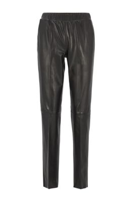 Leather pants with tapered leg, Black