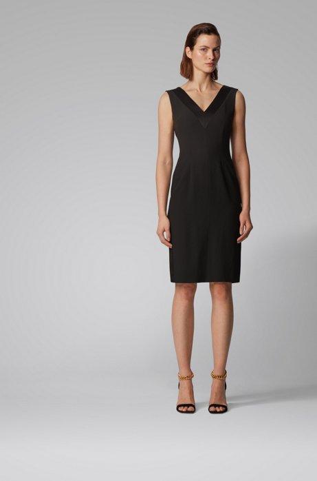V-neck dress in Italian satin-back crepe, Black