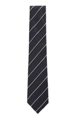 Contrast-stripe tie in silk jacquard, Dark Blue