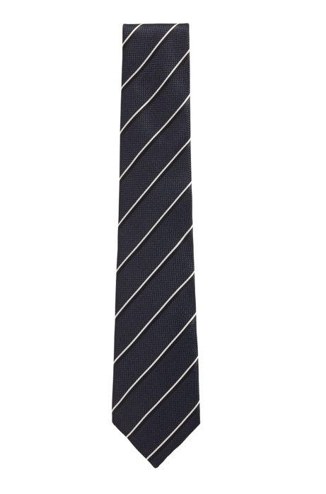 Contrast-stripe tie in silk jacquard, Dark Blue