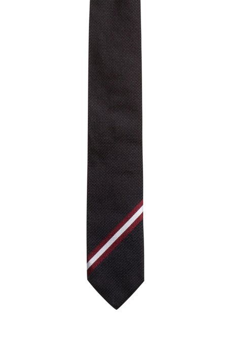 Silk-jacquard tie with diagonal stripes, Dark Red