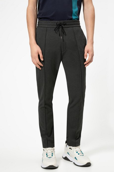 Tapered-fit pants in jersey twill with drawstring, Charcoal