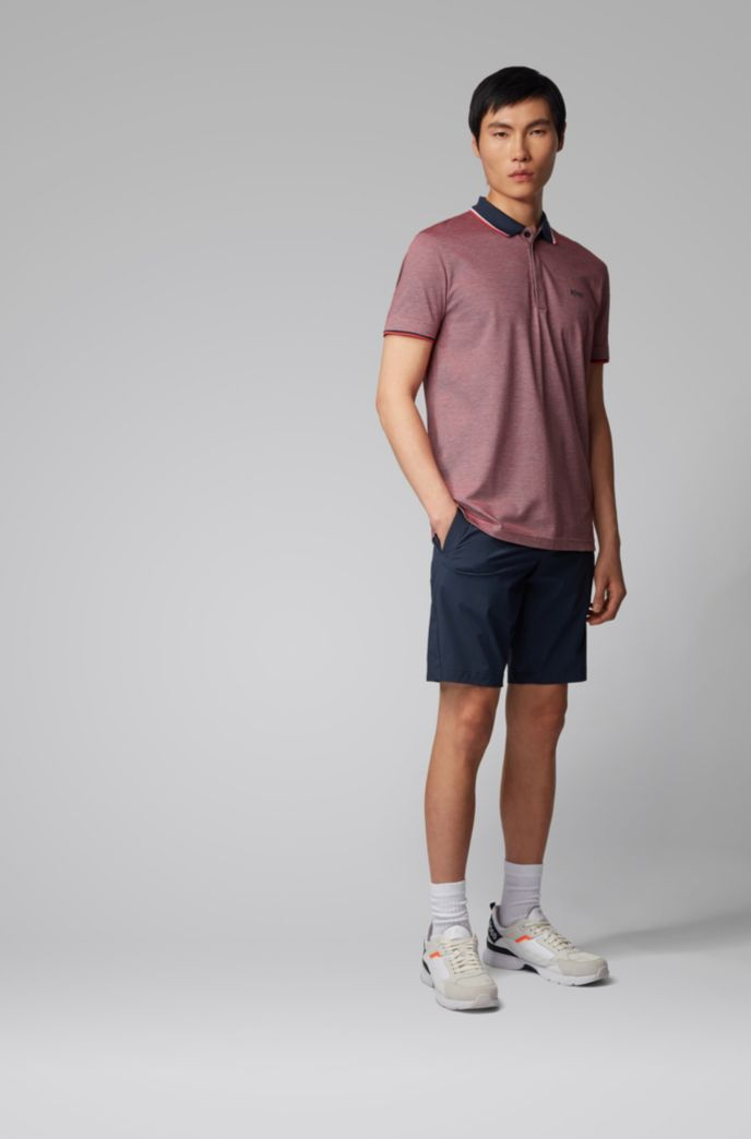 Cotton-piqué polo shirt with three-color micro pattern